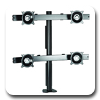Chief KTC440B or KTC440S Desk Clamp Mount Flat Panel Quad Monitor Arm