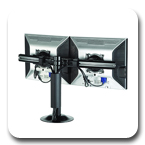 Chief KTG220B or KTG220S Grommet Desk Mount Flat Panel Dual Horizontal LCD Arm