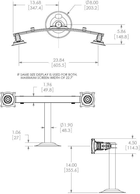 Technical Drawing for Chief KTG220B or KTG220S Grommet Desk Mount Flat Panel Dual Horizontal Monitor LCD Arm
