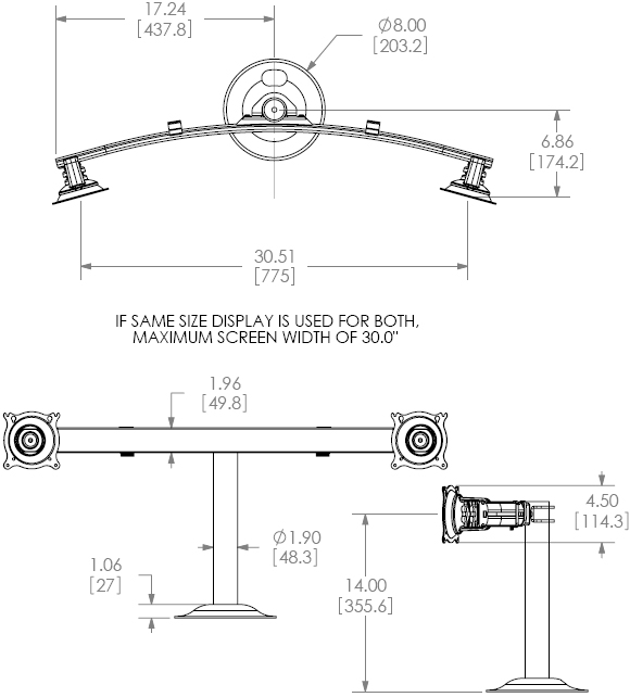 Technical Drawing for Chief KTG225 Desk Grommet Mount Widescreen Dual Monitor LCD Arm