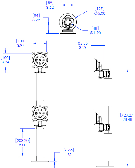 Technical Drawing for Chief KTG230 Vertical Dual Monitor Grommet Mount