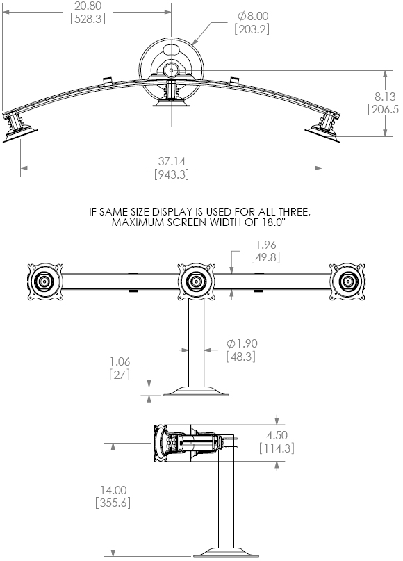 Technical Drawing for Chief KTG320 Desk Grommet Mount Flat Panel Horizontal Triple Monitor Arm