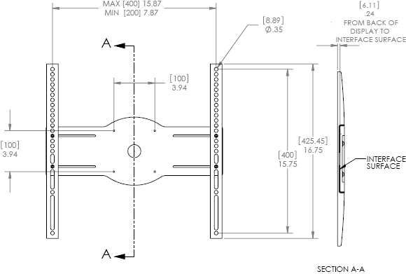 Technical Drawing for Chief JSBUB or JSBUS Flat Panel Interface Bracket