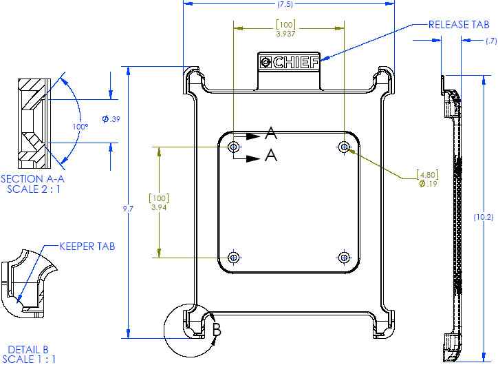 Technical Drawing of Chief FSBI2B iPad2 Interface Bracket