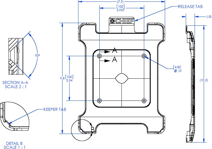 Technical Drawing of Chief FSBIB iPad Interface Bracket for Small Flat Panel Mounts up to 26""