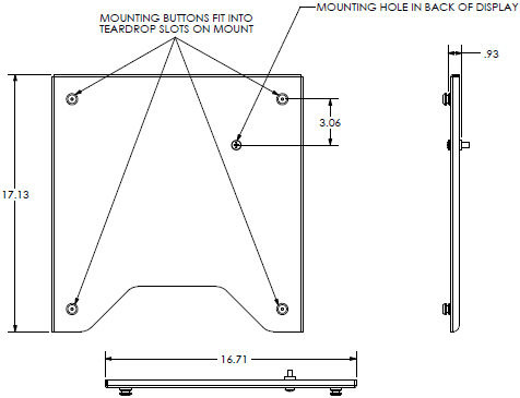 "Technical Drawing of Chief PSB2243 Large (37-65"") Interface Bracket"
