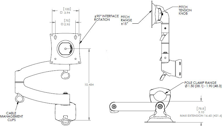 Technical Drawing of Chief KRA204 Series KONTOUR Bolt Down Grommet Plate and Hardware