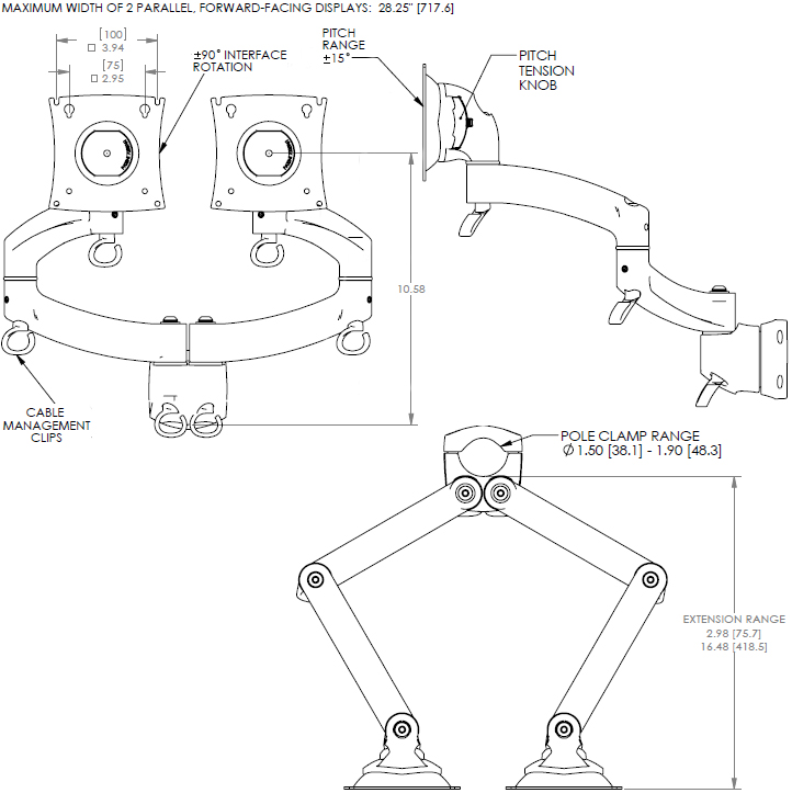 Technical Drawing of Chief K2P200 Series Kontour Dual Arm Pole Mount