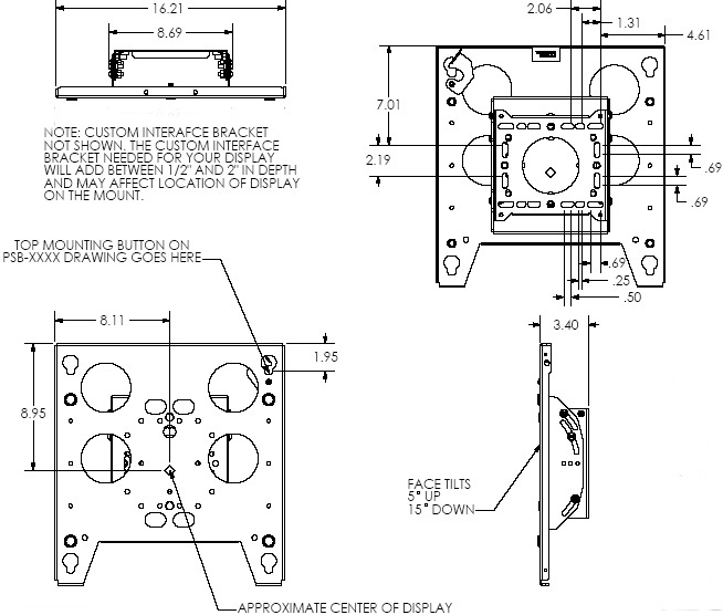 Technical Drawing of Chief TPM2000B Large Tilt Pole Mount Black