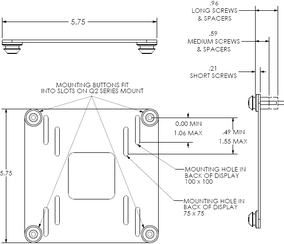 Technical Drawing for Chief FDP4100S Dual Display Pole Mount Arm