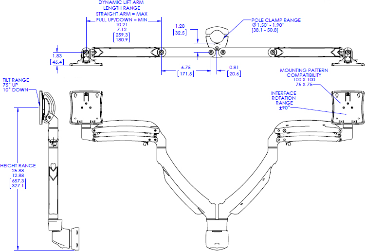 Technical drawing for chief K1P220 Kontour Dynamic Pole Mount, 2 Monitors