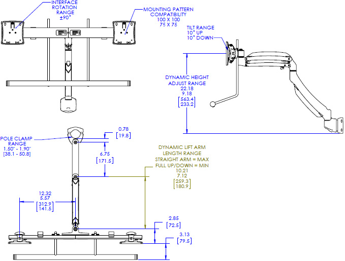 Technical drawing for Chief K1P22H Dynamic Pole Mount, Dual Monitor Array
