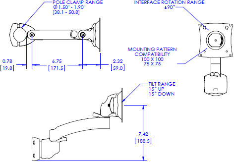 Technical drawing for Chief K2P110 Kontour Articulating Pole Mount, Single Monitor