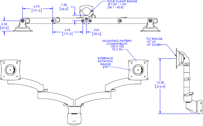 Technical drawing for Chief K2P220 Kontour K2P Pole Mount Articulating Arm, 2 Monitors