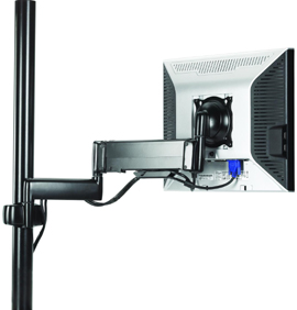 Chief KPG110 Pole Mount Height Adjustable Dual Swing Arm LCD for Laptop or Flat Panel