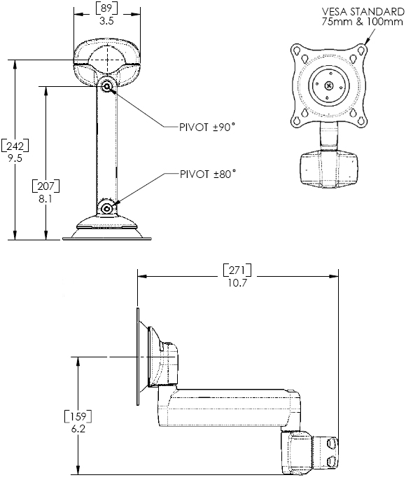 Technical Drawing of Chief KPS110S or KPS110B Pole Mount Flat Panel Single Monitor Swing LCD Arm