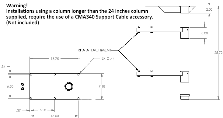 Technical Drawing of Chief LCD2C Multiple LCD Projector Ceiling Stacker Black
