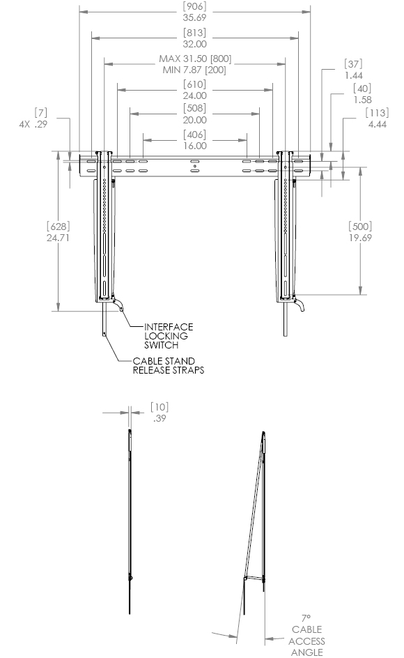 "Technical Drawing for Chief LSTU Thinstall Fixed Wall Mount for 37""-63"" Displays"