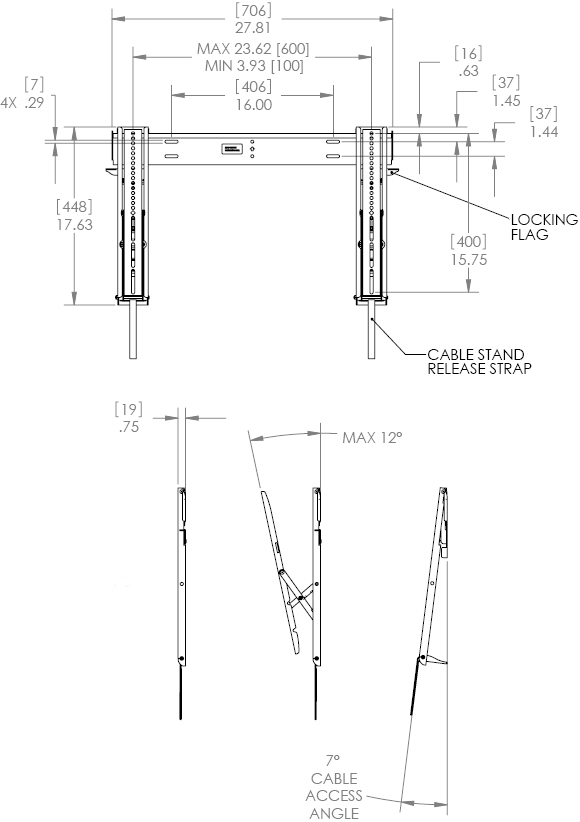 "Technical Drawing for Chief MTTU Thinstall Tilt Wall Mount for 26""-47"" Displays"