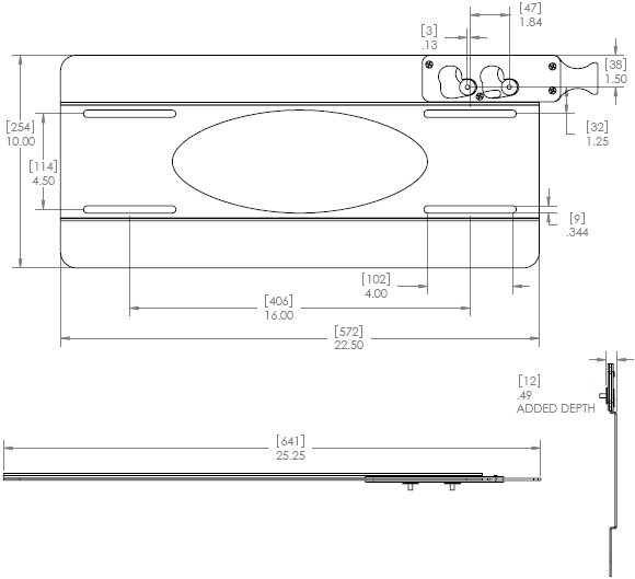 Technical Drawing for Chief PSMT2015 Thinstall Flat Panel TV Wall Mount