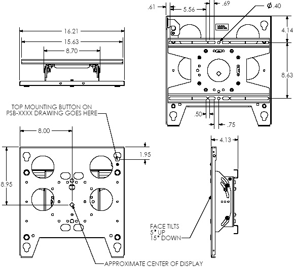 Technical Drawing of Chief TPP2000B Large Tilt Truss Mount Black