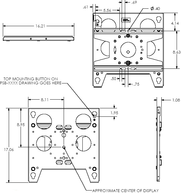 Technical Drawing of Chief TPS2000B Large Fixed truss and Pole Mount