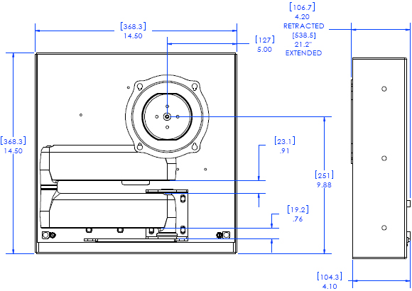 Technical Drawing for Chief JWDIW Flat Panel In-Wall Swing Arm Mount