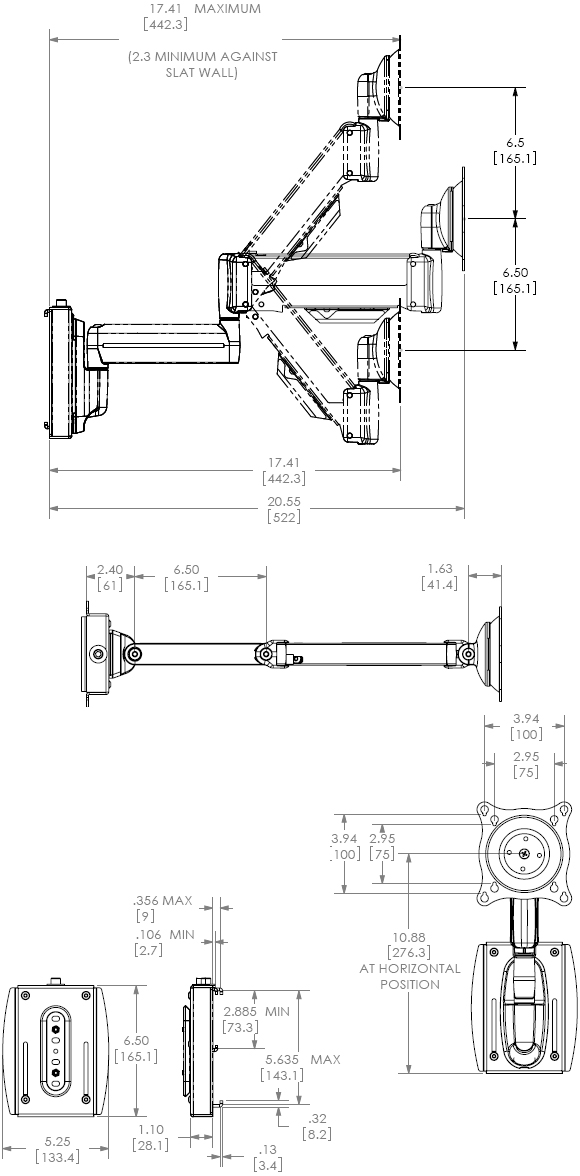 Technical Drawing for Chief KSG110B or KSG110S Slat Wall Mount Universal Swing LCD Arm