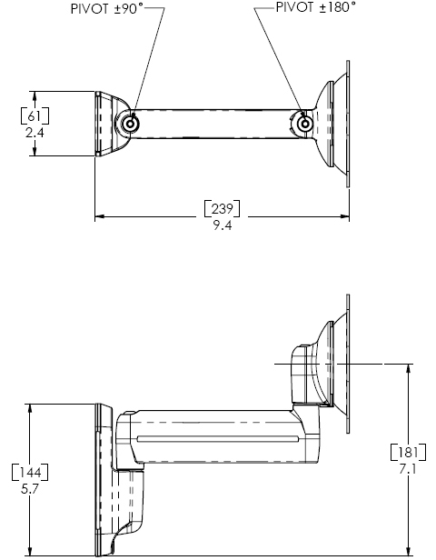 Technical Drawing of Chief KWS110S or KWS110B Wall Mount Single Monitor Swing LCD Arm