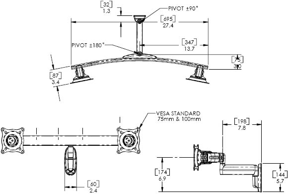 Technical Drawing for Chief KWS220 Wall Mount Dual Monitor Swing LCD Arm