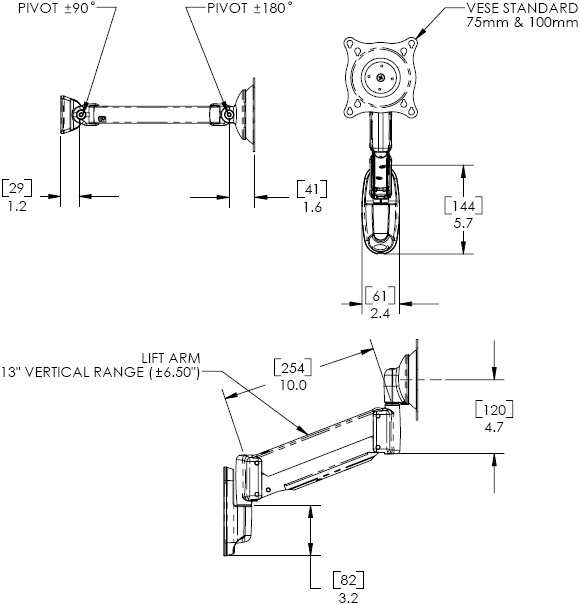 Technical Drawing for Chief KWV110S or KWV110B Wall Mount Height Adjustable Swing LCD Arm