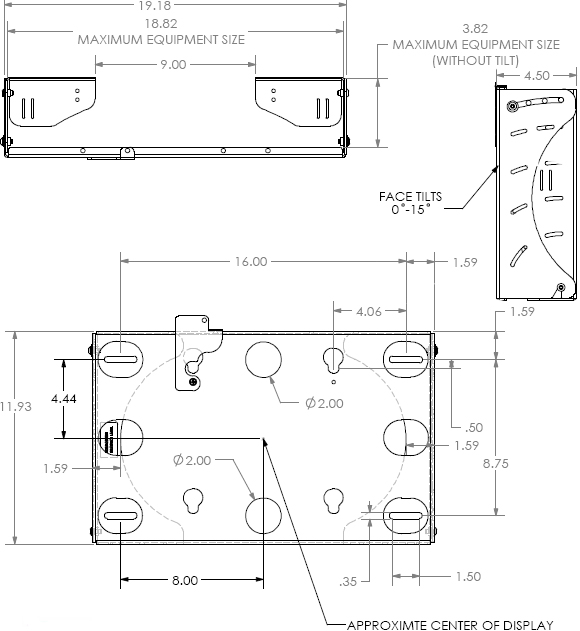 Technical Drawing for Chief MWCV Flat Panel Tilt Wall Mount with CPU Storage