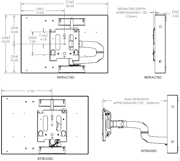 Technical Drawing for Chief MWRIWUB Universal In-Wall Swing Arm Wall Mount
