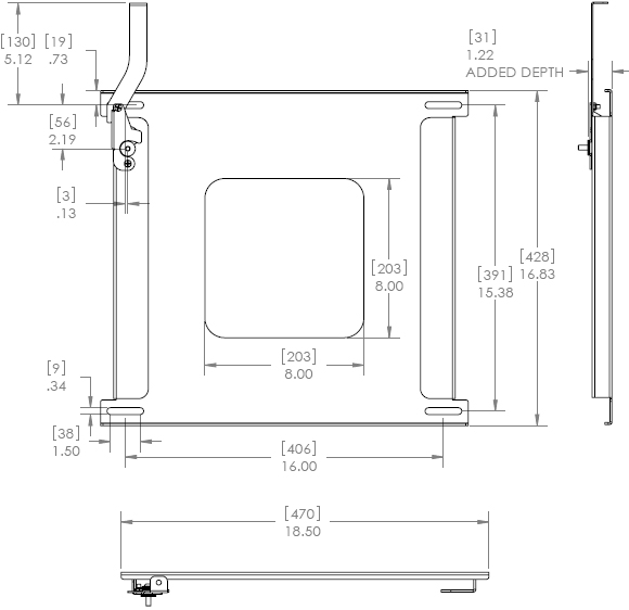 Technical Drawing for Chief PSM2176 Fixed Wall Mount up to 65 inch Displays
