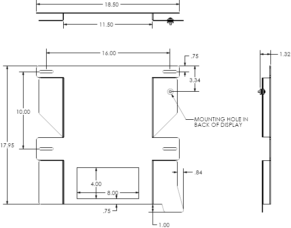 "Technical Drawing for Chief PSM2390 Custom Flat Panel Fixed TV Wall Mount (32-65"")"