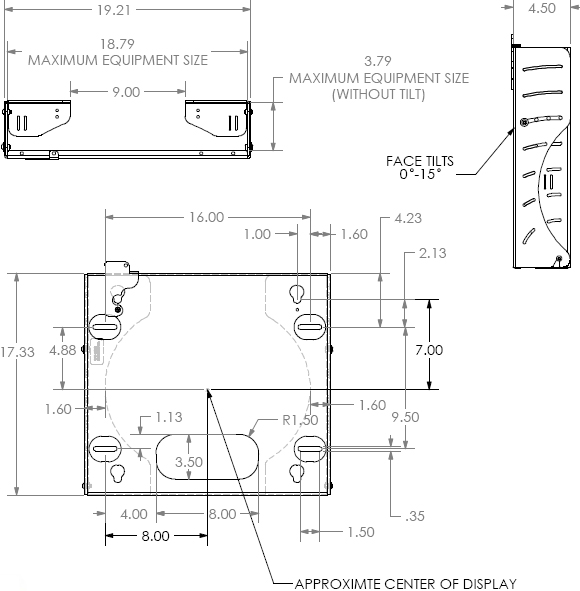 Technical Drawing for Chief PWCU Flat Panel Tilt Wall Mount with CPU Storage