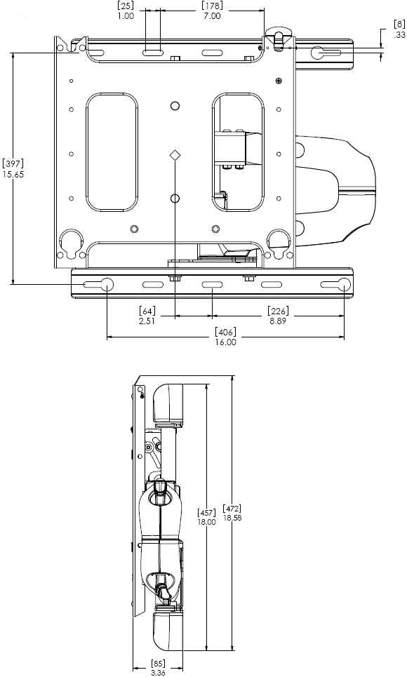 Technical Drawing for Chief PWRUB Flat Panel Swing Arm Wall Mount