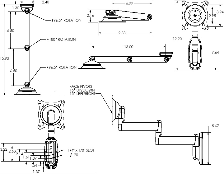 Technical Drawing of Chief FWD-110 Small Dual Swing Arm Wall Mount