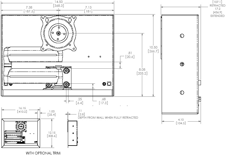 Technical Drawing of Chief FWDIW Small In-wall Swing Arm Mount