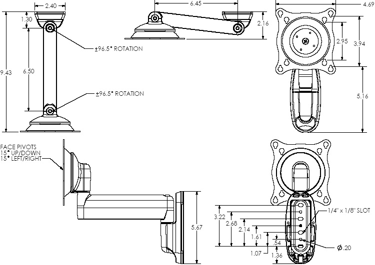 Technical Drawing of Chief FWSV Small Single Swing Arm Wall Mount