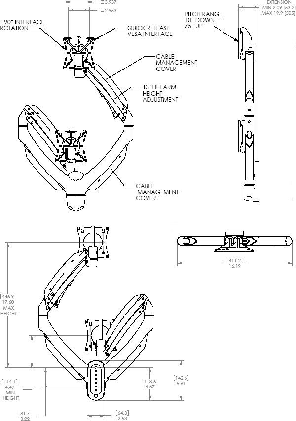 Technical Drawing of Chief K1W200S or K1W200B KONTOUR Dynamic Wall Mount for Dual Monitors