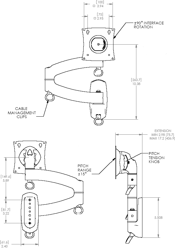 Technical Drawing of Chief K2W100S or K2W100B KONTOUR Dual Arm Wall Mount for Single Monitor