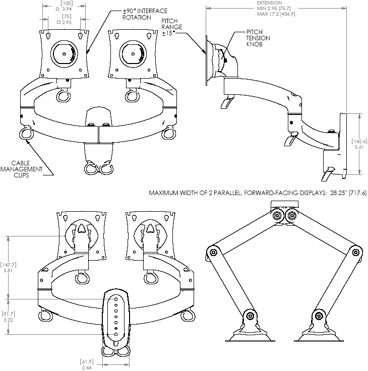 Technical Drawing of Chief K2W200S or K2W200B KONTOUR Dual Arm Wall Mount for Dual Monitors