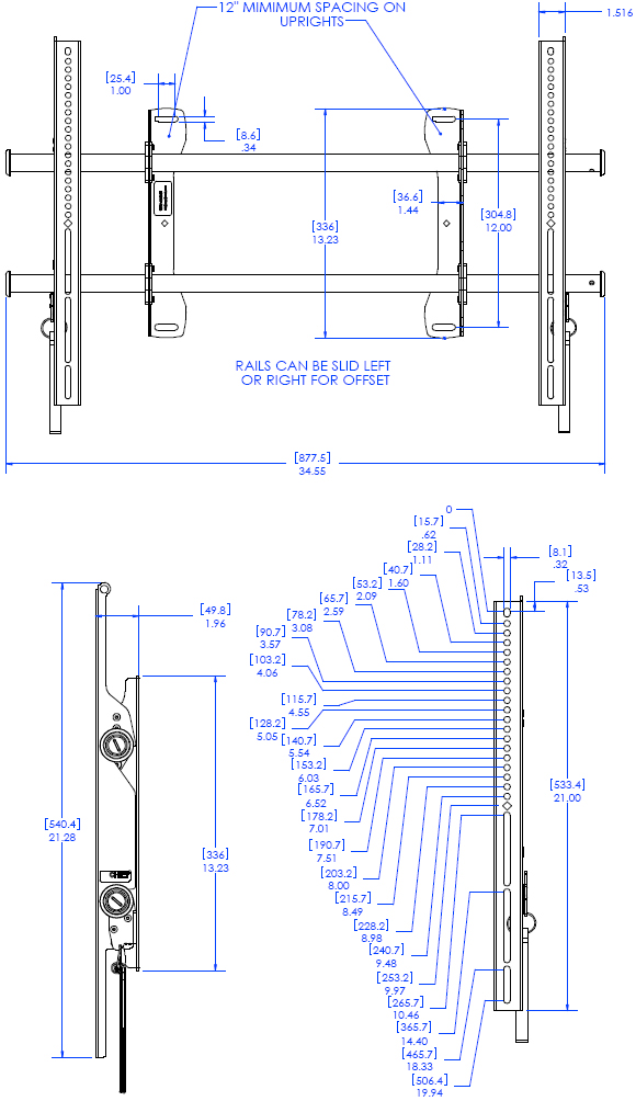 Technical Drawing for Chief LSAU FUSION Flat Panel Fixed Video Wall Mount
