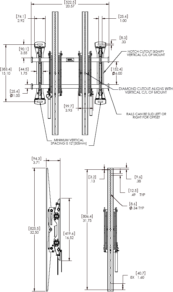 "Technical Drawing for Chief LSMVPU FUSION Portrait Pull-Out Wall Mount (37"" to 63"" Displays)"