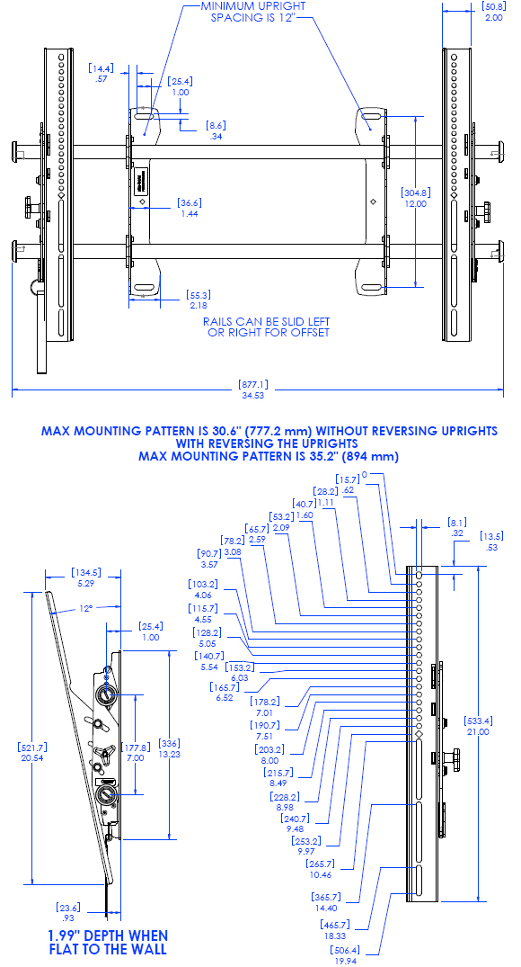 Technical Drawing for Chief LTAU FUSION Flat Panel Tilt Video Wall Mount