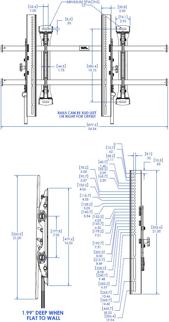Technical Drawing for Chief LTMU FUSION Adjustable Tilt Video Wall Mount
