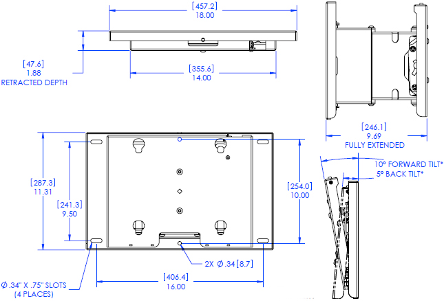 Technical Drawing of Chief MPT 6000 Medium Swing Arm Wall Mount