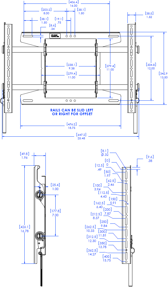 Technical Drawing for Chief MSAU FUSION Flat Panel Fixed Video Wall Mount