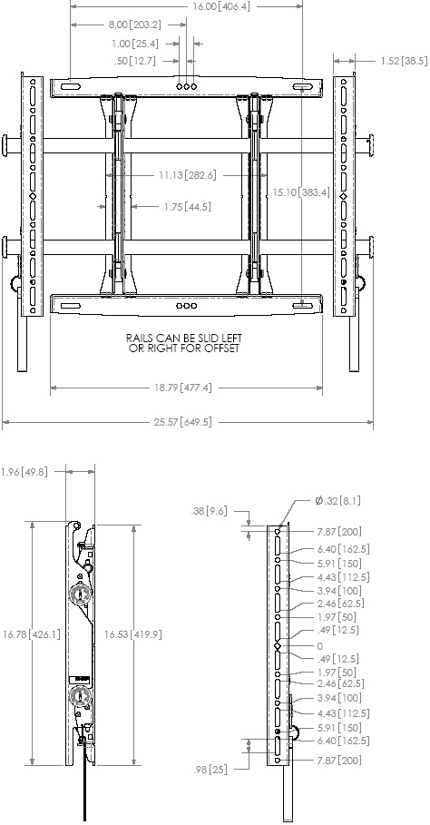 "Technical Drawing for Chief MSMU FUSION Micro-Adjustable Fixed Wall Mount for 26"" to 47"" Displays"